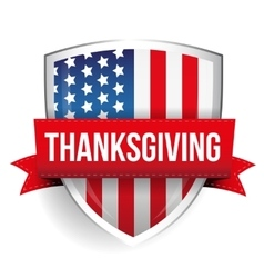 Thanksgiving on USA flag shield vector image vector image