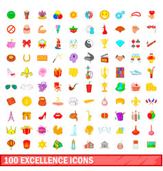 100 excellence icons set cartoon style vector image