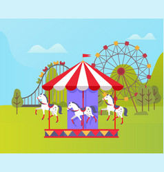 amusement park ferris wheel and carousel nature vector image