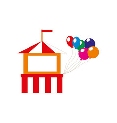 attractions building icon with balloons isolated vector image