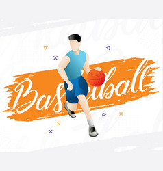 Basketball player with ball vector