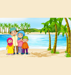 Beach scene with family members vector