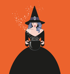 Beautiful witch wearing hat and black dress vector