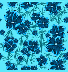 blue hibiscus spring blue flowers seamless pattern vector image