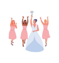 Bride dropping wedding bouquet to bridesmaids vector