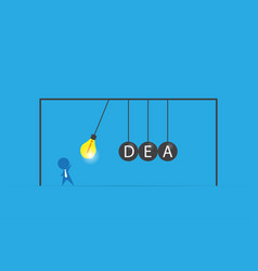 businessman with lightbulb and idea word vector image