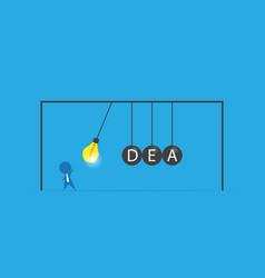 Businessman with lightbulb and idea word vector