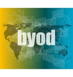 byod word on digital screen mission control vector image vector image