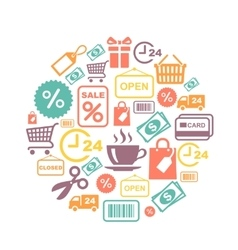 card with shopping supermarket services vector image