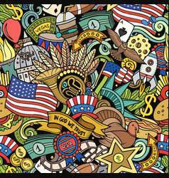 cartoon doodles usa seamless pattern vector image