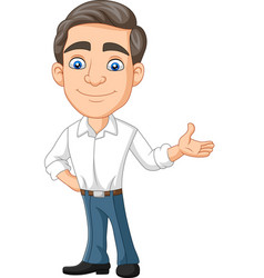 Cartoon happy young businessman presenting vector