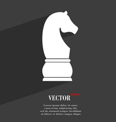 Chess knight symbol Flat modern web design with vector image