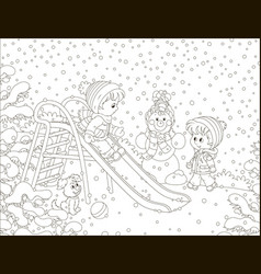 Children on a toy slide in a winter park vector