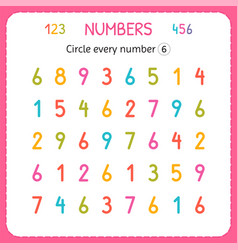 Circle every number six numbers for kids vector