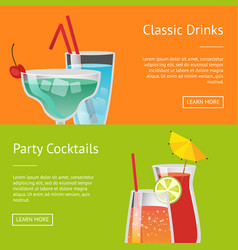 classic drinks party cocktails set of web posters vector image