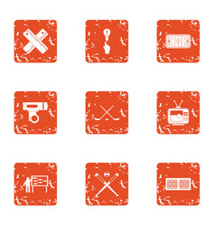 coaching departure icons set grunge style vector image