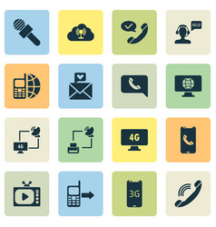 Communication icons set with satellite with vector