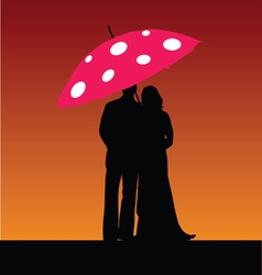 couple with umbrella color vector image