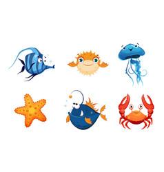 Cute friendly sea creatures set colorful sea vector