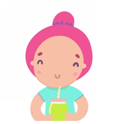 Cute funny girl with smoothie jar vector