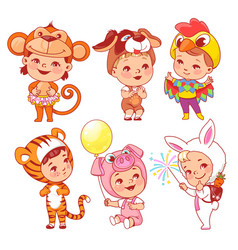 cute little baby wear carnival costumes vector image