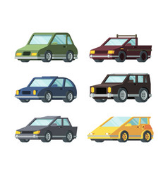 different types modern cars flat vector image
