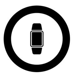 digital hand clock icon black color in circle vector image