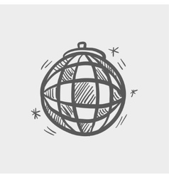 Disco ball sketch icon vector image