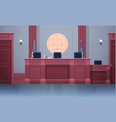 Empty courtroom with judge workplace chairs and vector