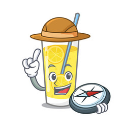 Explorer lemonade mascot cartoon style vector