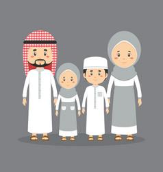 Family character wearing muslim dress vector