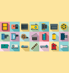filmstrip icons set flat style vector image