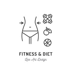fitness club logo diet icon healthy lifestyle vector image