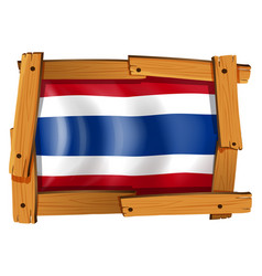 Flag of thailand in wooden frame vector