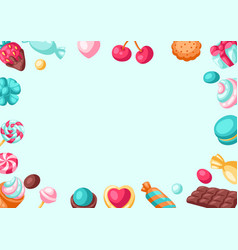 frame with various candies and sweets vector image