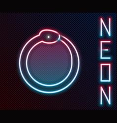 Glowing neon line magic symbol of ouroboros icon vector