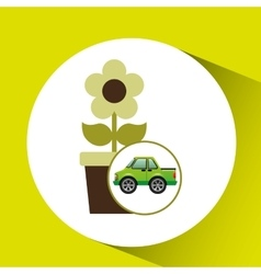 Green ecology car flower concept vector