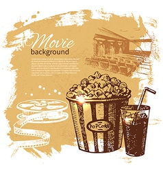 Hand drawn vintage Movie and cinema background vector