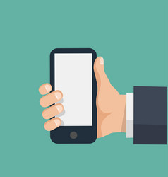 hand holds smartphone with blank screen vector image