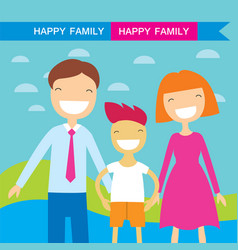 Happy family members parents and their son lovely vector