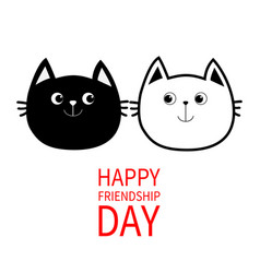 Happy friendship day black white contour cat head vector