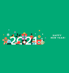 happy new year 2021 flat holiday decoration banner vector image