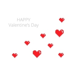 Happy Valentines Day card in pixel style vector image