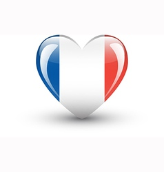 Heart-shaped icon with national flag of France vector image