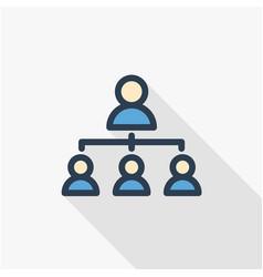 Hierarchy thin line flat color icon vector