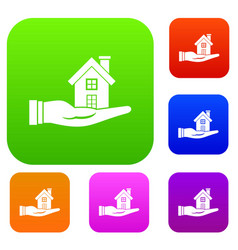 house in hand set collection vector image