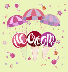 ice cream on parachute vector image