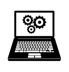 Laptop with gears icon vector