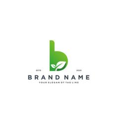 Leaf letter b logo design vector