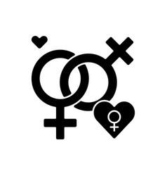Lesbian relationship symbol black glyph icon vector